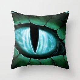 Cyan Dragon Eye Fantasy Painting Colorful Digital Illustration Throw Pillow