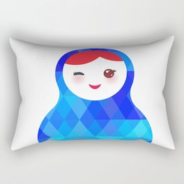 wink Russian doll matryoshka with bright rhombus on white background, blue colors Rectangular Pillow