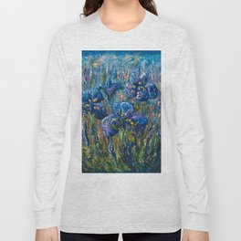 Countryside Irises Oil painting with palette knife Long Sleeve T-shirt