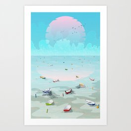 Between two waters Art Print