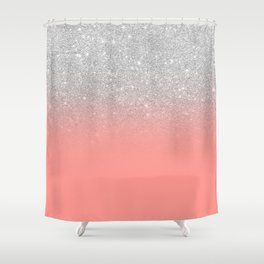 Modern chic coral pink silver glitter ombre gradient Shower Curtain