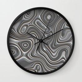 Faux Silver Metal Modern 3D Liquid Swirls Pattern Wall Clock
