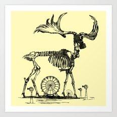 Gas Mask Deer Art Print