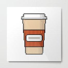 Coffee to go pixel art on white background. Metal Print