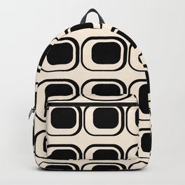 Mod 3 Retro Minimalist Pattern in Black and Almond Cream Backpack