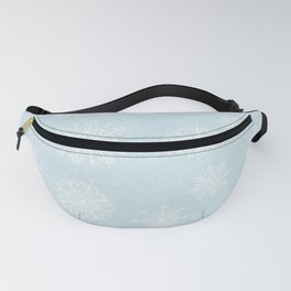 Assorted White Snowflakes On Light Blue Background Fanny Pack