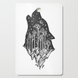 Adventure Wolf - Nature Mountains Wolves Howling Design Black on Pale Pink Cutting Board