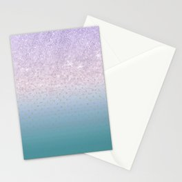 Modern faux lilac glitter teal purple ombre polka dots Stationery Cards