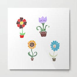 Flower Pack with Faces Metal Print
