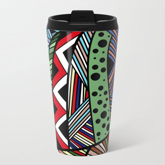 IT'S RAINING COLORS! (abstract tribal) Metal Travel Mug