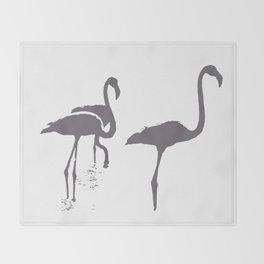 Three Flamingos Grey Silhouette Isolated Throw Blanket