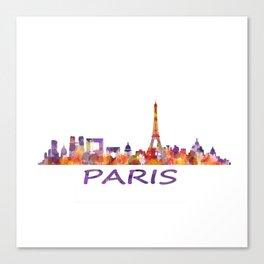 París City Skyline HQ Watercolor Canvas Print
