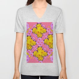 Coral Color Yellow Daffodils & Roses Pattern Art Unisex V-Neck