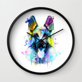 German Shepherd Watercolor, Watercolor Dog print, German Shepherd Print, German Shepherd Art Wall Clock