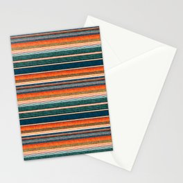 serape southwest stripe - orange & dark teal Stationery Cards