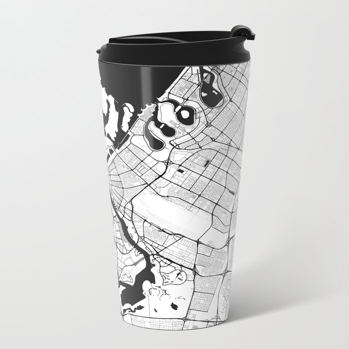 Dubai City Map Gray Metal Travel Mug