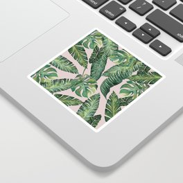Jungle Leaves, Banana, Monstera Pink #society6 Sticker