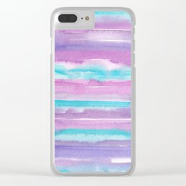 Watercolor Stripes - Purple and Turquoise Clear iPhone Case