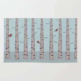 Cardinals in snow trees Rug