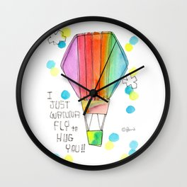 Just Wanna Fly hot air balloon illustration nursery decor kids room watercolor painting Wall Clock