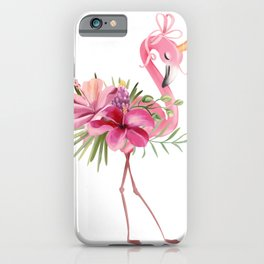 Princess flamingo with golden crown iPhone Case