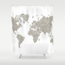 Silver sparkly glitter world map Shower Curtain