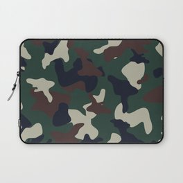Green Brown woodland camo camouflage pattern Laptop Sleeve