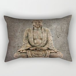 Sitting Buddha On Distressed Metal Background Rectangular Pillow