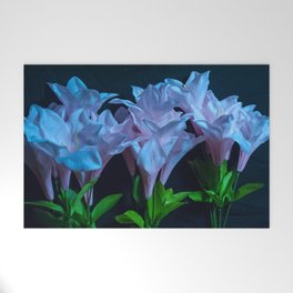 pink and blue flowers on black Welcome Mat