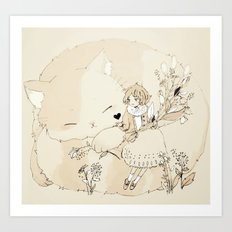 girl and her cat. Art Print