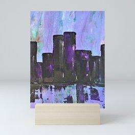 Purple City. Cyber Punk City. Jodilynpaintings Purple City Abstract Mini Art Print