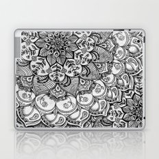 Shades of Grey - mono floral doodle Laptop & iPad Skin
