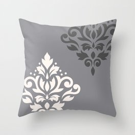 Scroll Damask Art I Cream & Grays Throw Pillow