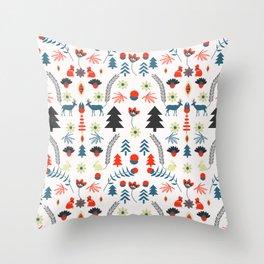 Folk winter pattern Throw Pillow