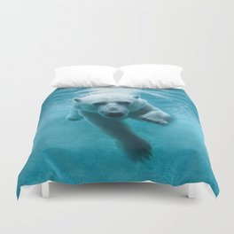 Polar Bear Swimming Duvet Cover