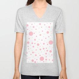Mixed Polka Dots - Pink on White Unisex V-Neck