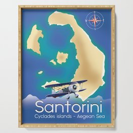 Santorini Cyclades islands Travel Map Serving Tray