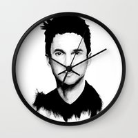 dave grohl Wall Clocks featuring DAVE by Amanda Mocci