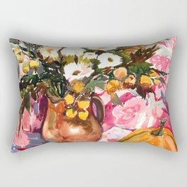 Autumn Still-Life with Pumpkin and Bouquet Rectangular Pillow