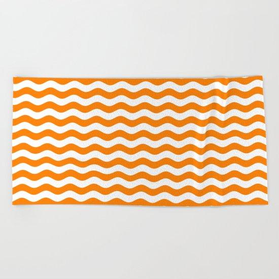 Wavy Stripes (Orange/White) Beach Towel