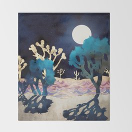Desert Lake Moonlight Throw Blanket