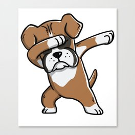 Funny Boxer Dog Dabbing Canvas Print