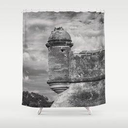 Castillo de San Marcos - black and white Shower Curtain