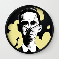 lovecraft Wall Clocks featuring H.P. Lovecraft by James Courtney-Prior