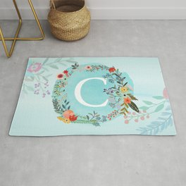 Personalized Monogram Initial Letter C Blue Watercolor Flower Wreath Artwork Rug