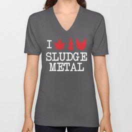 I Love Sludge Metal Unisex V-Neck