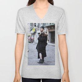 Vintage Grunge in Chinatown Unisex V-Neck