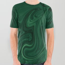 Modern Cotemporary Emerald Green Abstract All Over Graphic Tee