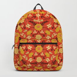 Vibrant Orange, Yellow & Brown Floral Pattern w/ Retro Colors Backpack