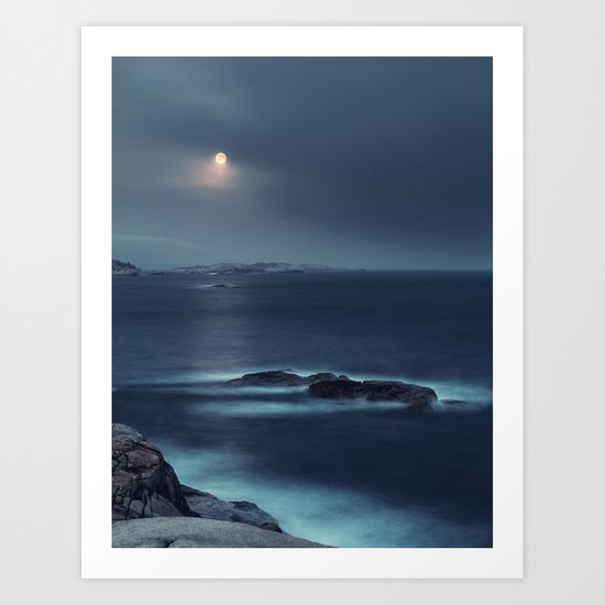 Blue Moonrise Art Print